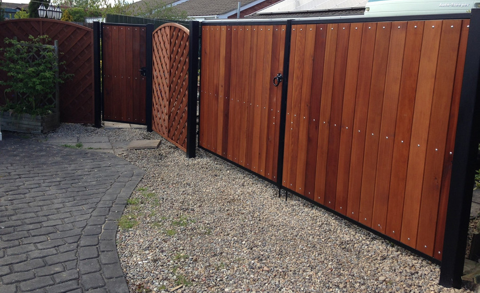 Driveway Gates with Side Gate - View more on Instagram