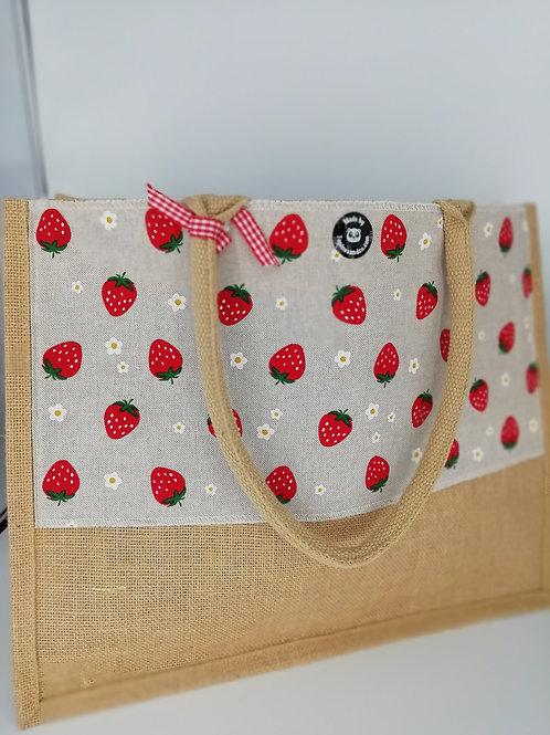 Cabas jute fraises... Grand modele