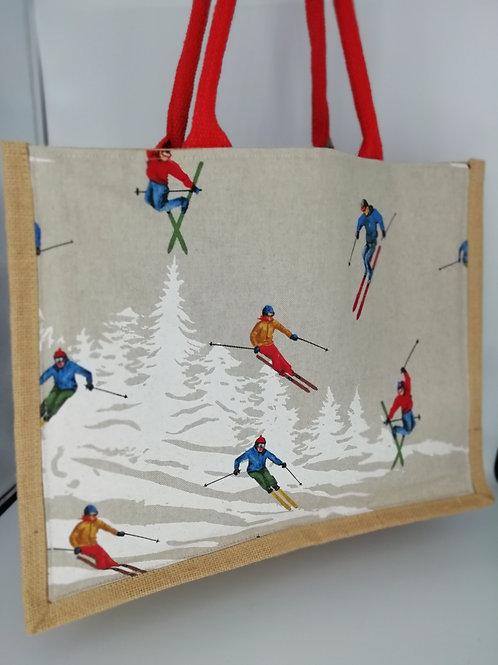 Cabas. Jute grand modèle skieurs