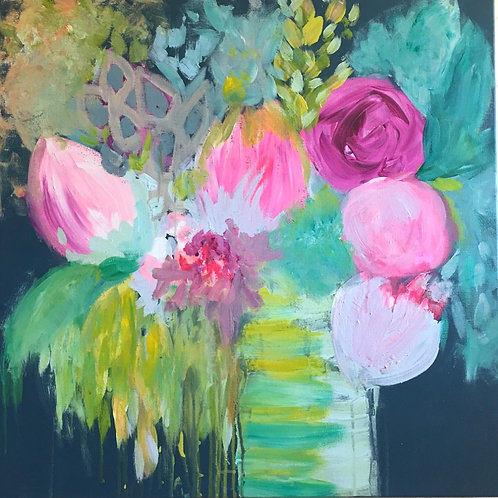Whimsy Blooms 20x20 Canvas