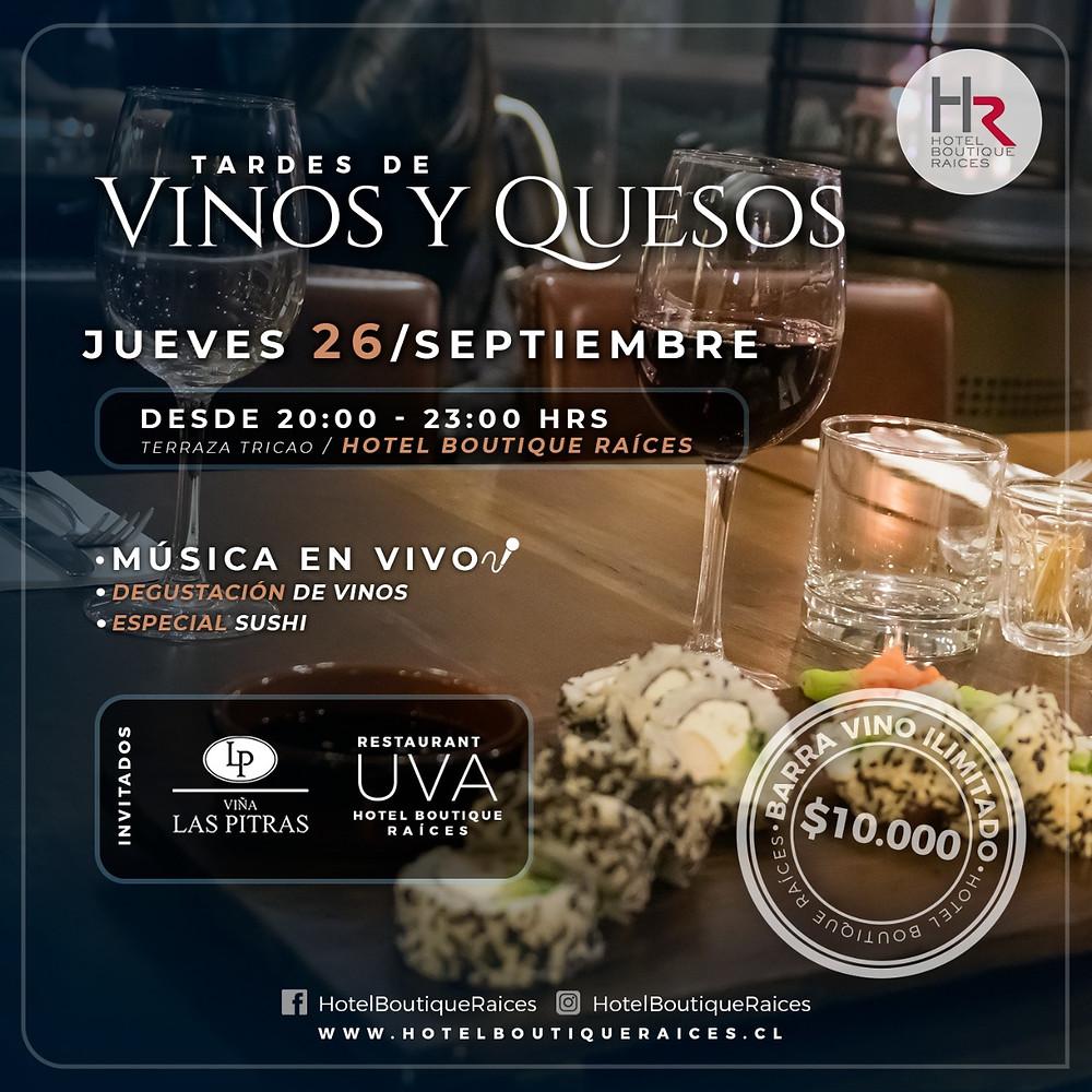 Ven a disfrutar de las Tardes de Vinos & Quesos en Hotel Raíces