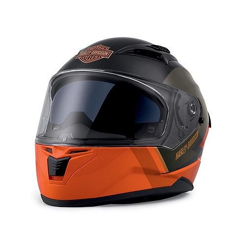 Casque intégral Killian orange et noir avec lunettes solaires intégrées