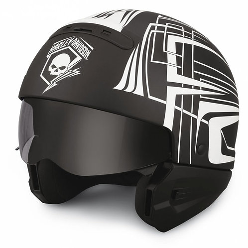 Casque noir avec skull blanc et mentonnière amovible