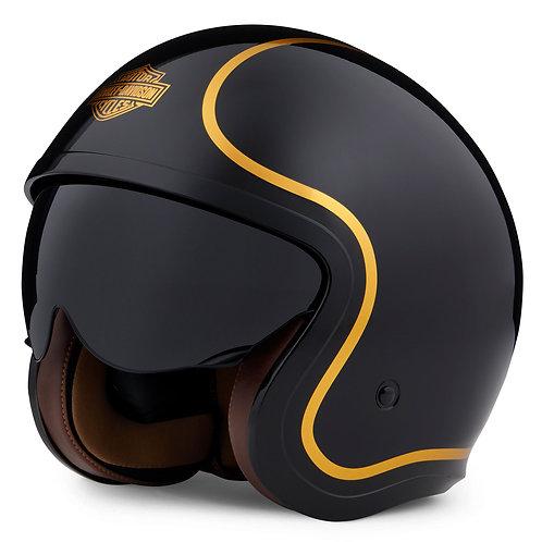 Casque noir brillant et rayures dorées