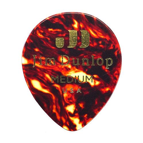 Dunlop 485P-03MD Celluloid Teardrop, Black Medium Player's Pack/12