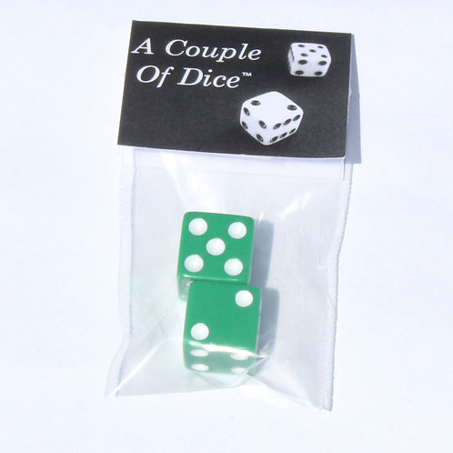 A Couple Of Dice - Green With White Pips