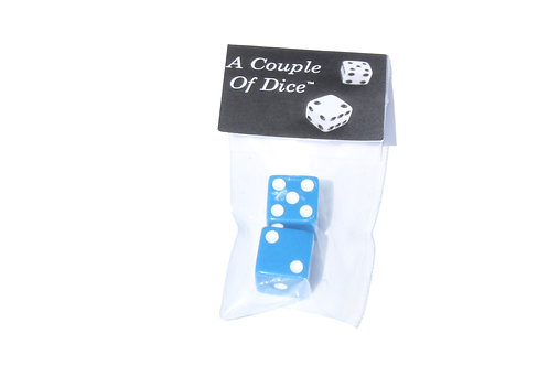 A Couple Of Dice - Blue With White Pips