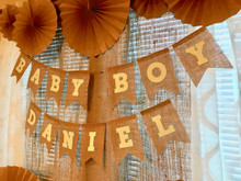 Burlap Blue Baby Shower