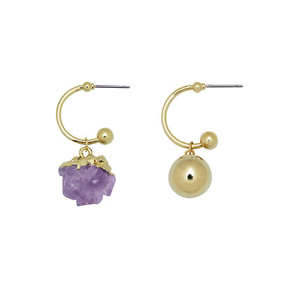 Amethyst Gold Ball Mismatched Earrings