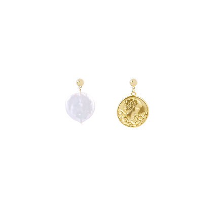 Mismatched Coin Pearl Earrings