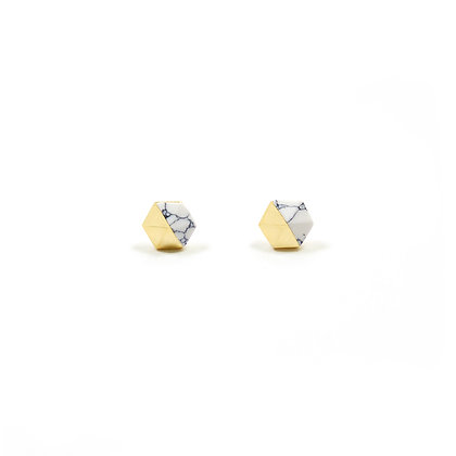 Gold and Marble Ear Studs