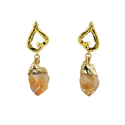 Citrine Heart Drop Earrings