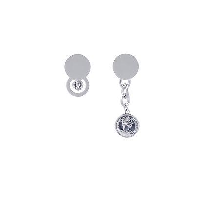 Vintage Queen Elizabeth Coin Mismatched Earrings