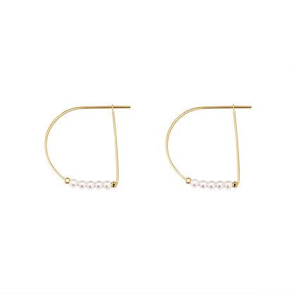 Gold Delia Pearl Hoop Earrings