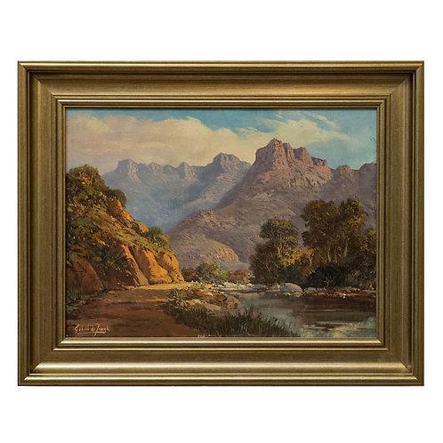 Gabriel de Jongh (SA 1913 - 2014) Oil - Mountain Landscape with River