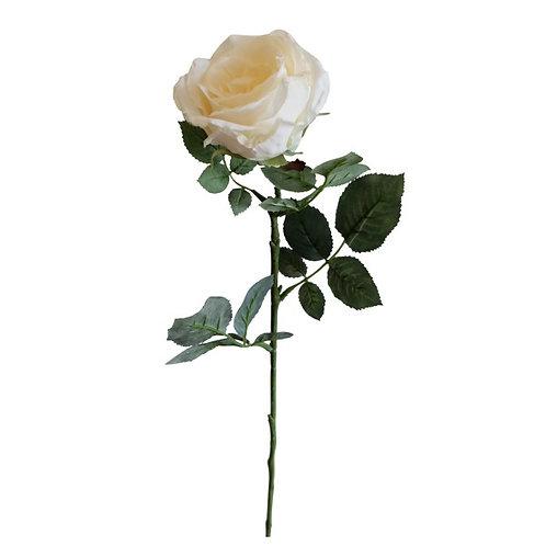 Faux Rose Flower Stem White