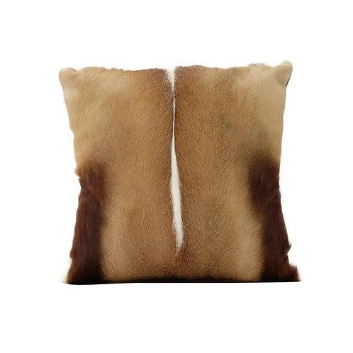Genuine Springbok hide cushion with suede back.