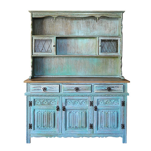 One Of A Kind Turquoise Three Door Cabinet Display Shelves
