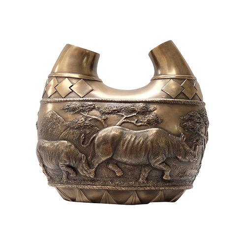 ZAWADI Ceramic Bronze Rhino Vase