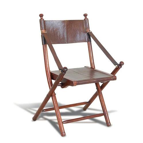 Teak And Leather Safari Chair