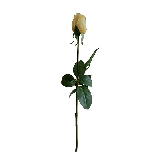 Faux Rose Flower Stem Yellow