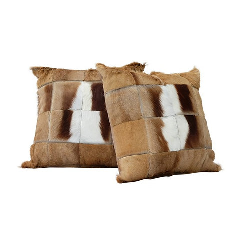 Stunning genuine Springbok hide patch cushion with suede back.