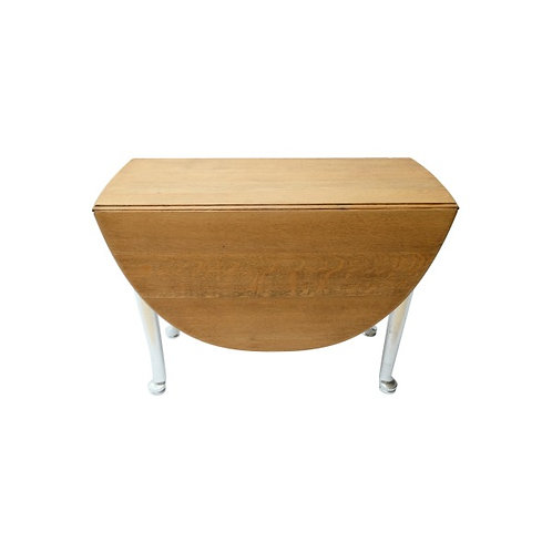 Two-Tone Silver Leaf and Oak Round Drop Leaf Table