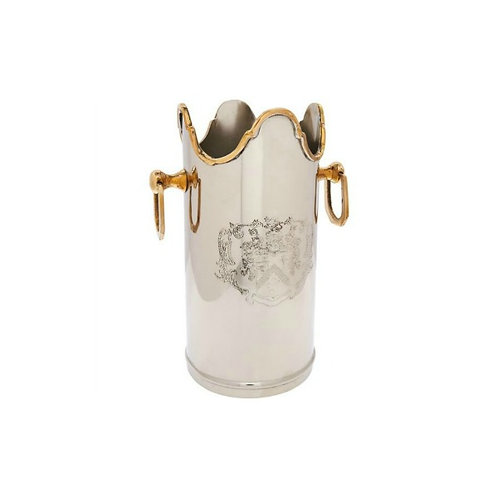 Brass TwoToned Embossed Ice Bucket 1 bottle