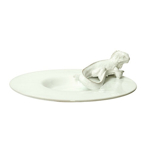 White Ceramic Iguana Serving Dish