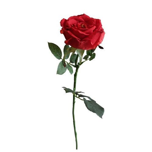 Faux Rose Flower Stem Red