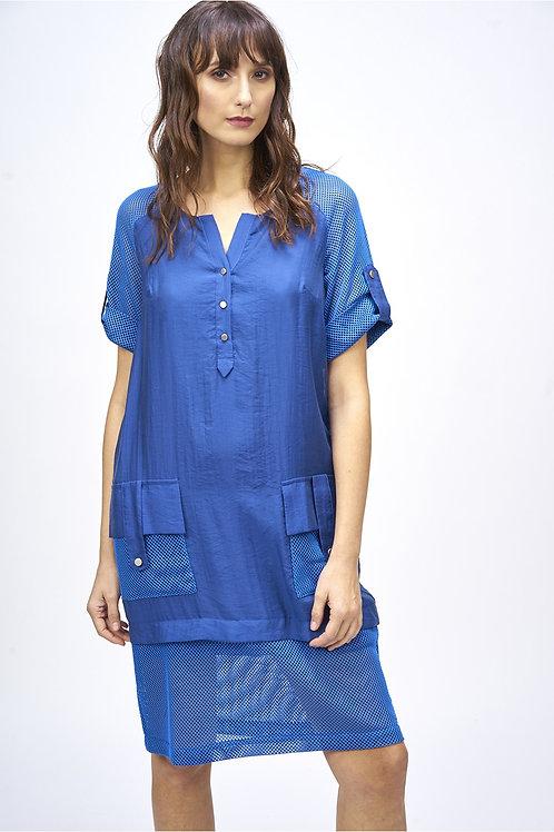 Vestido combinado malla azul MdeMiguel