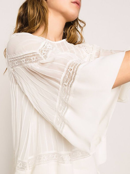 Blusa de georgette con bordados y encaje TWINSET