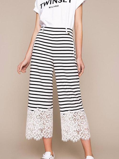 Pantalón cropped de rayas con encaje TWINSET