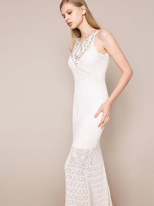 Vestido largo con detalles de crochet y bordados TWINSET