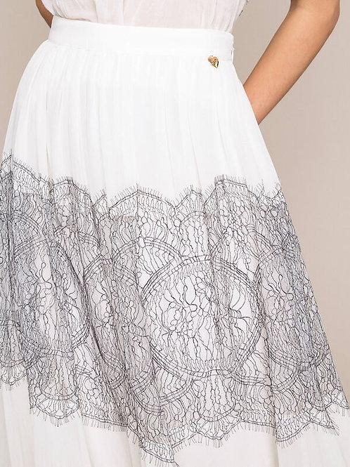 Falda larga plisada con encaje bicolor TWINSET