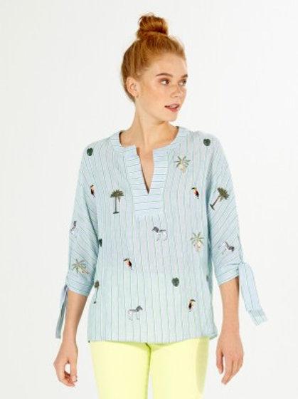 Camisa bordada azul VILAGALLO