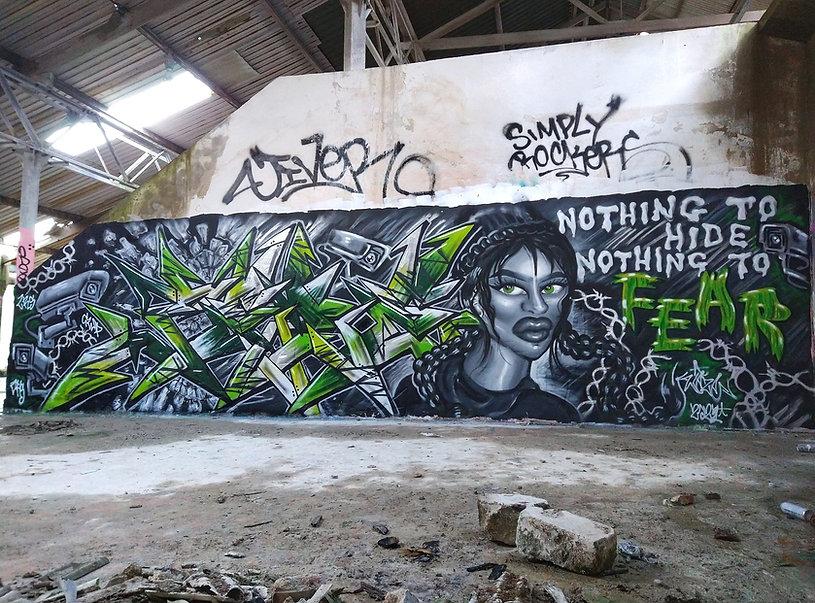 Urban Art Graffiti Black and White Mural