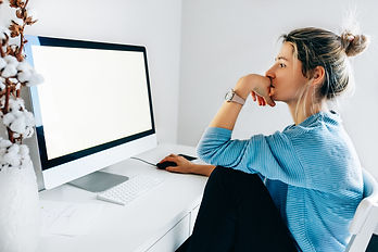 Woman at computer Online therapy in Wisc