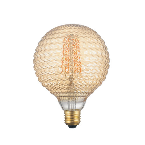 Gold pattern globe retro filament LED bulb
