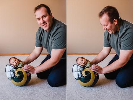 Jack in daddy's football helmet!