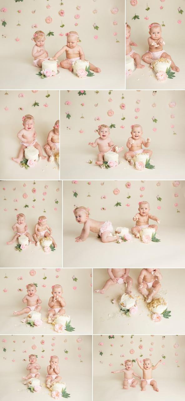 twin cake smash photoshoot boho