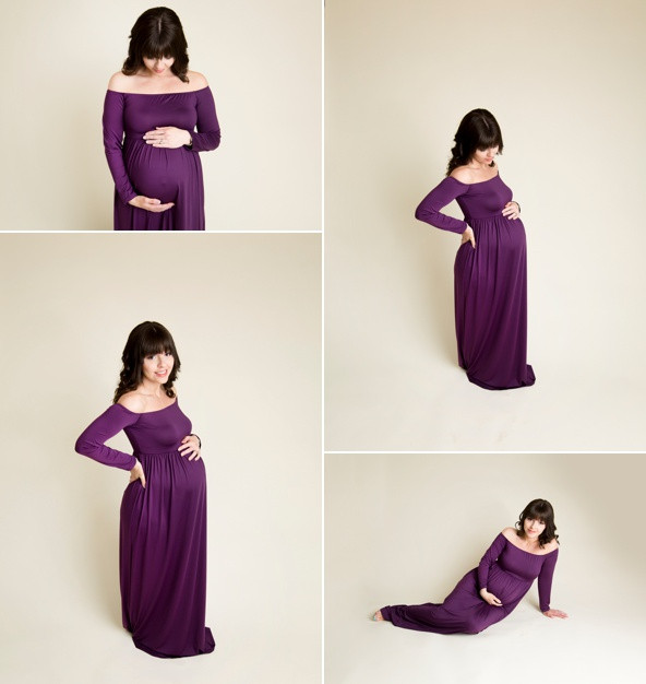 purple maternity gown