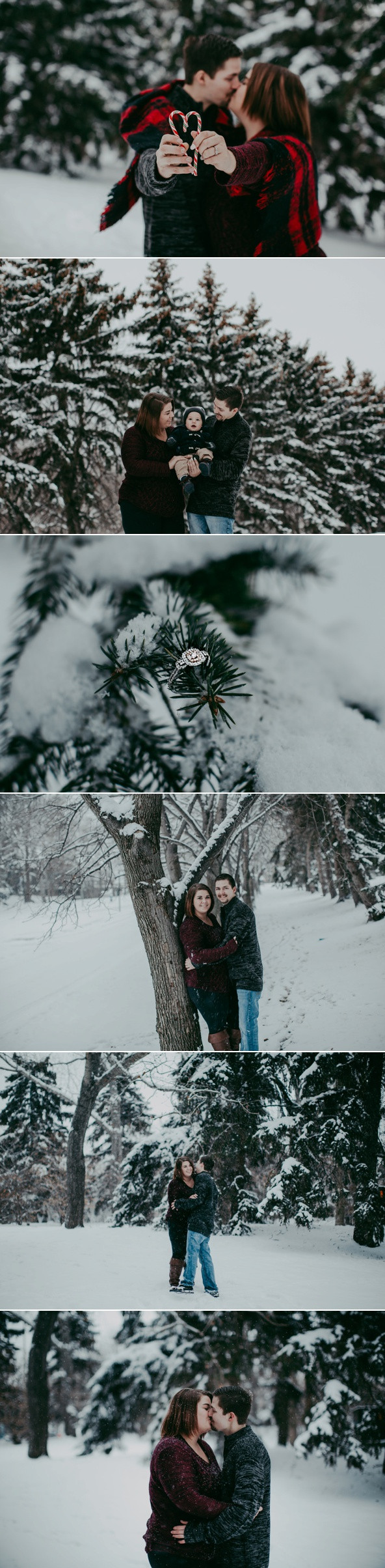Snowy engagement session in Regina