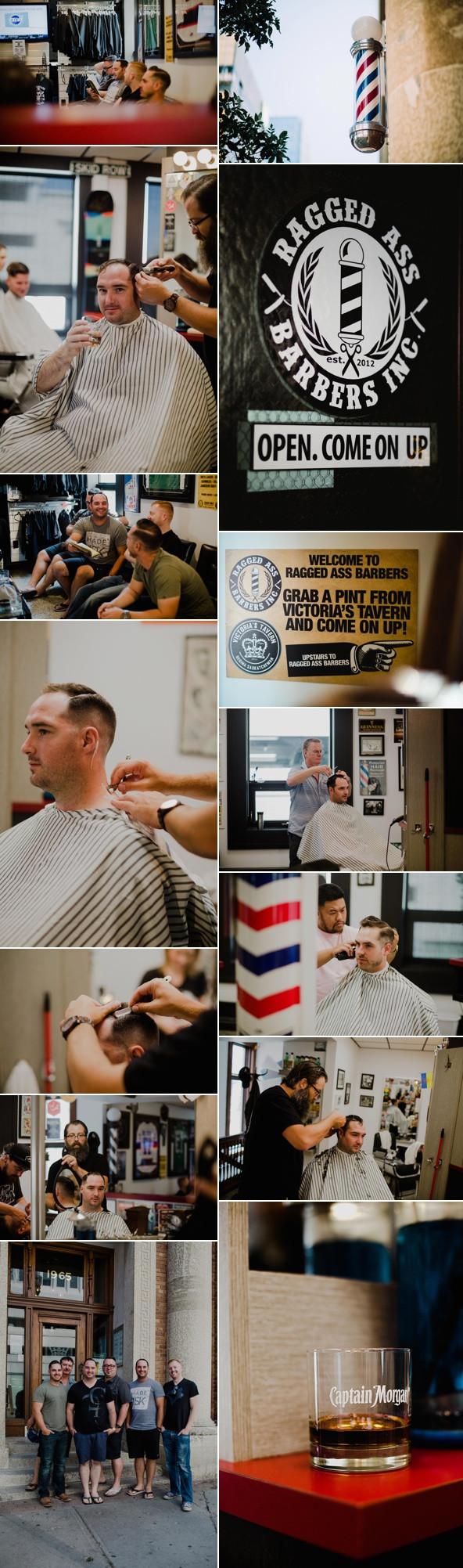 Men getting ready @ Ragged Ass Barbers - Regina Wedding Photography