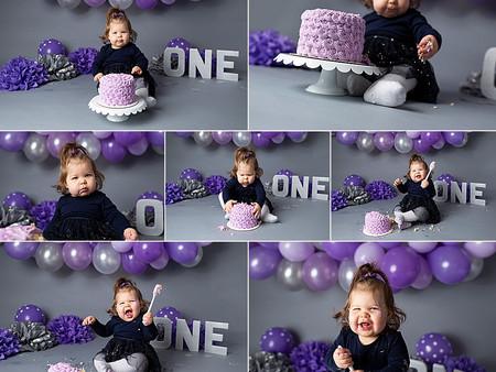 Jane's Purple & Silver Cake Smash Theme