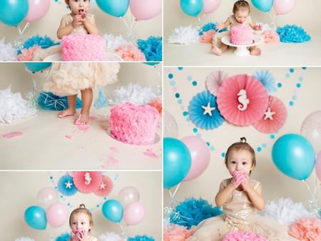 Pink & Blue Under the Sea Cake Smash Theme - Regina, SK
