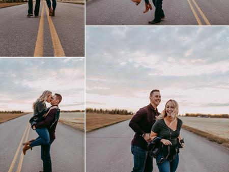 Engagement Session on a Saskatchewan highway