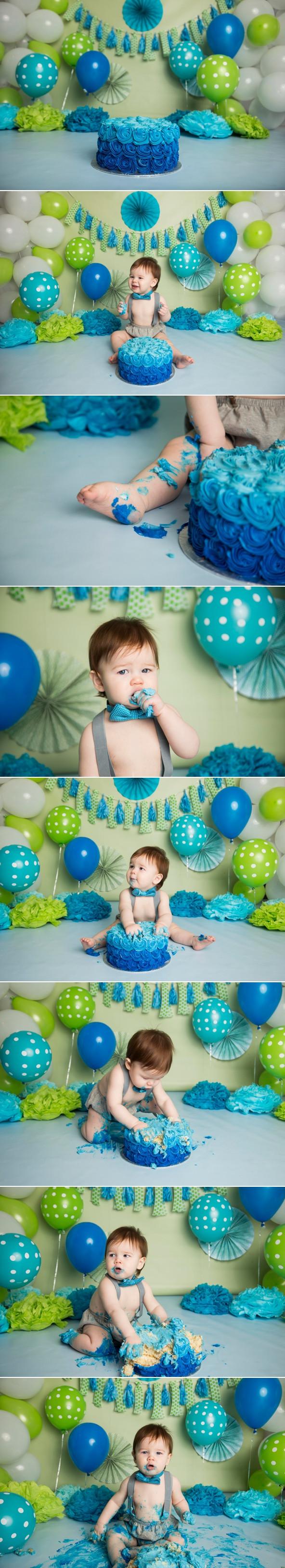 cake smash green blue boy