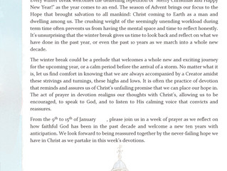 Winter Week of Prayer - day 1