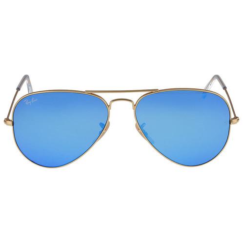Ray-Ban Aviator Matte Gold Frame Blue Lenses Large Sunglasses RB3025 ...